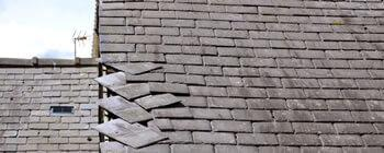 Wind damage to roof tiles