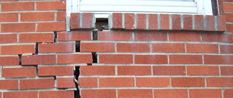 Cracked brick wall due to subsidence
